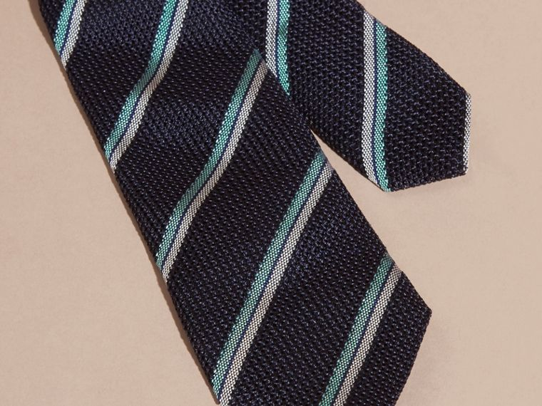Navy Slim Cut Textured Striped Silk Tie - cell image 1