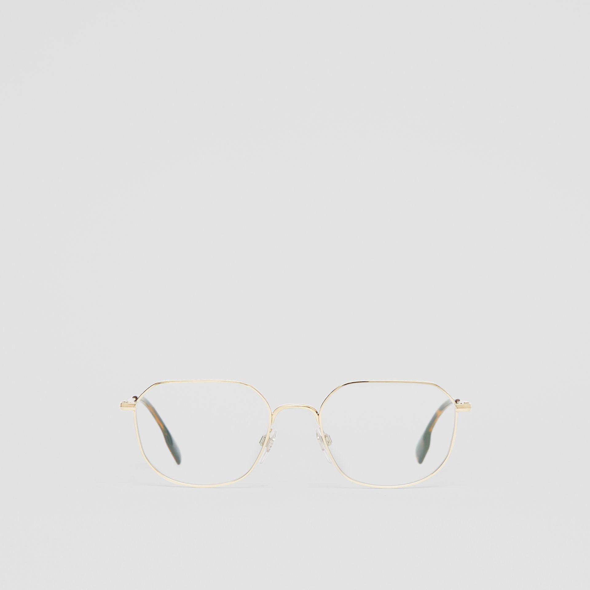 Gold-plated Square Optical Frames in Light - Men | Burberry - gallery image 0