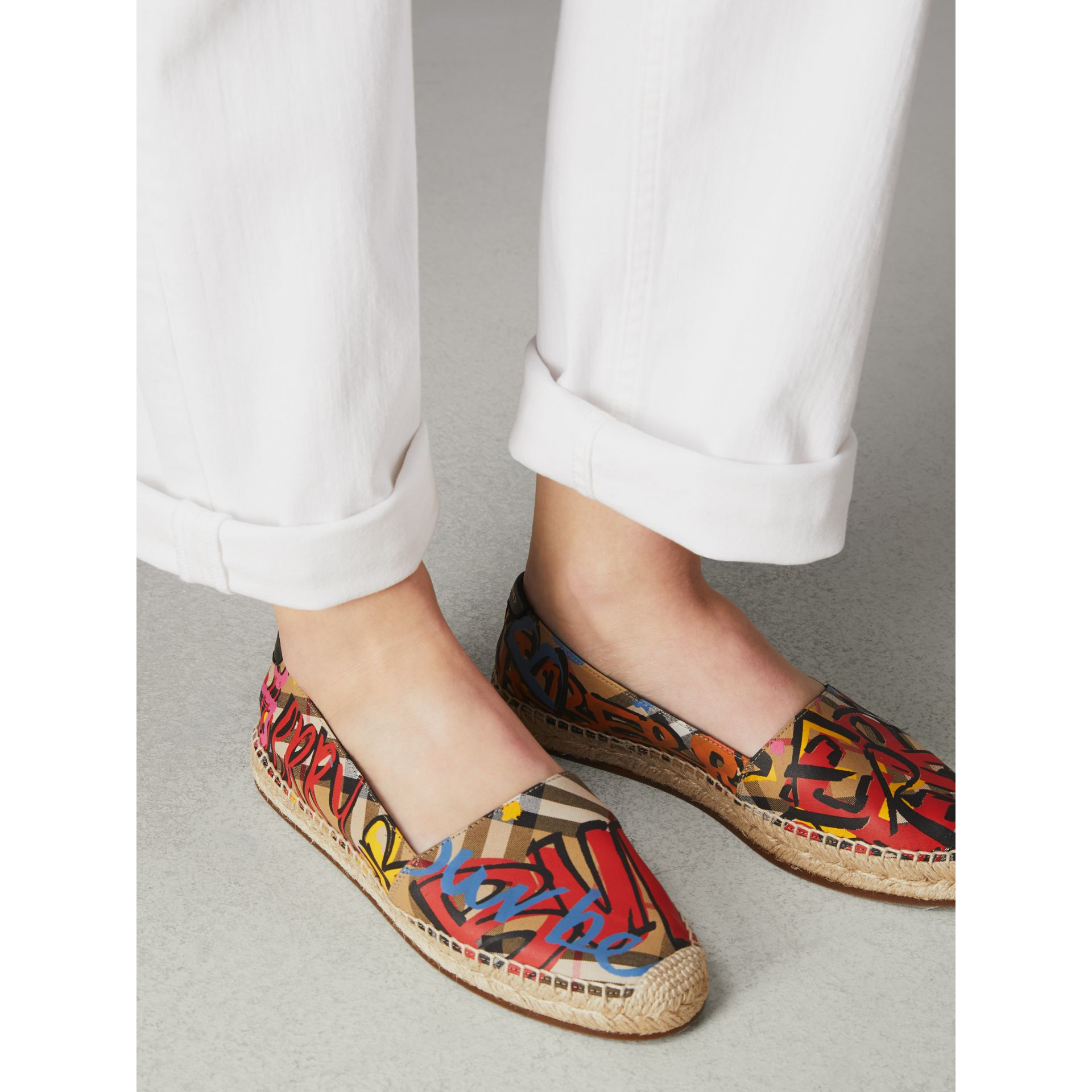 Graffiti Print Vintage Check Espadrilles in Antique Yellow - Women | Burberry Canada - gallery image 2