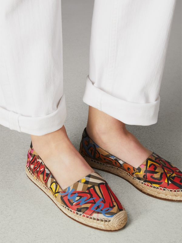 Graffiti Print Vintage Check Espadrilles in Antique Yellow - Women | Burberry Canada - cell image 2