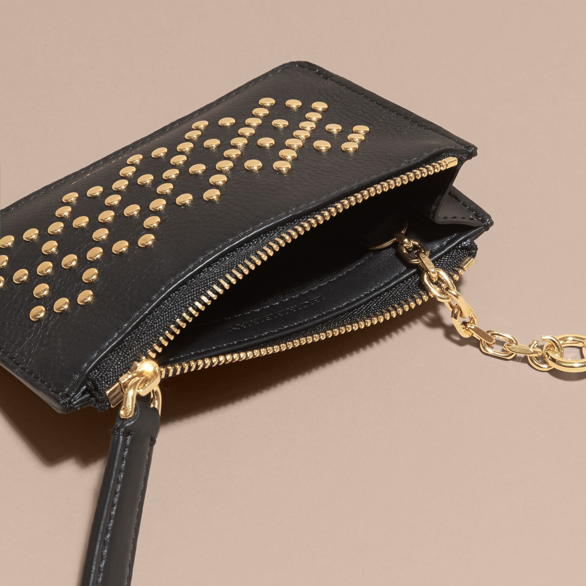 Riveted Grainy Leather Zip-top Wallet - gallery image 5