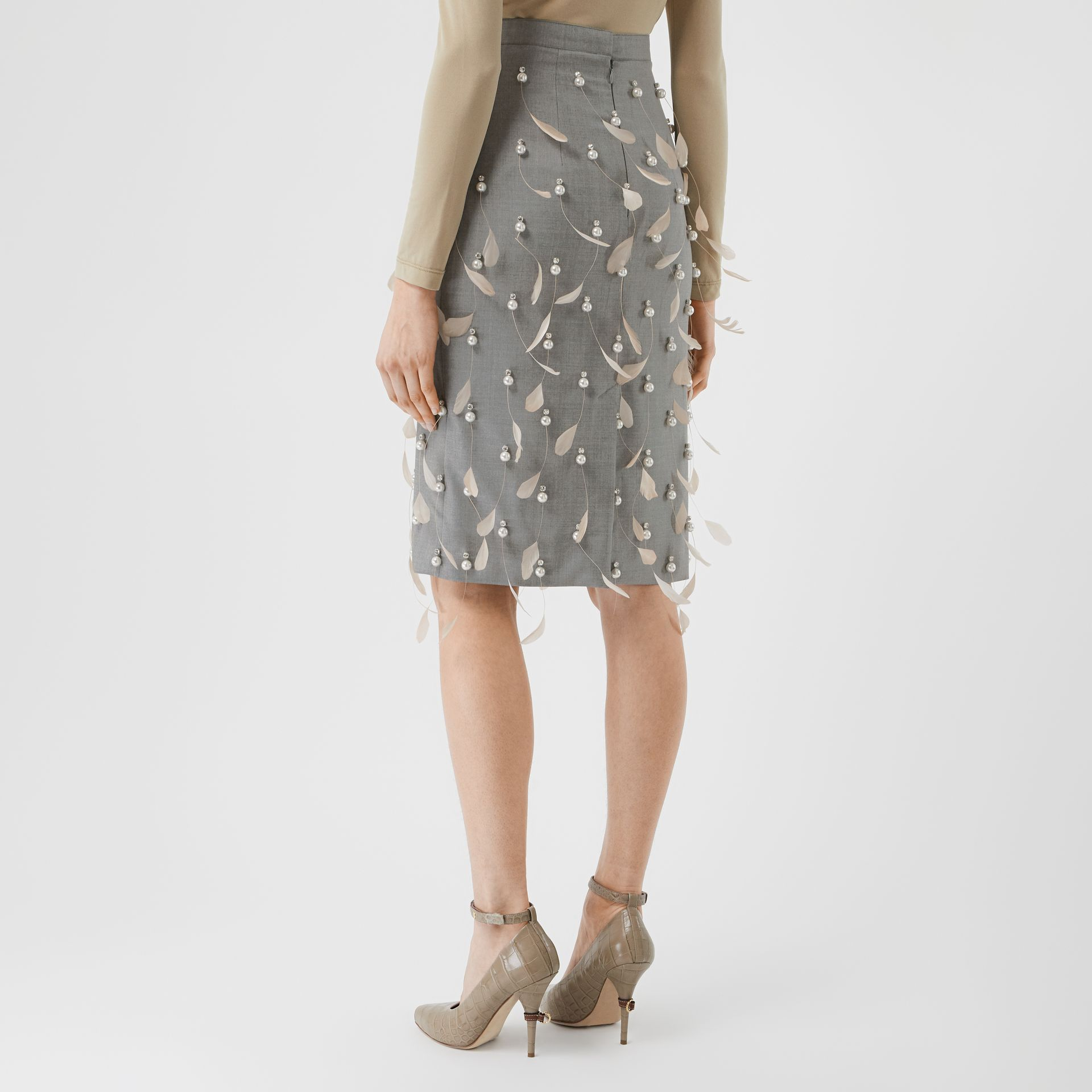 Embellished Wool Pencil Skirt in Flint - Women | Burberry Canada - gallery image 2