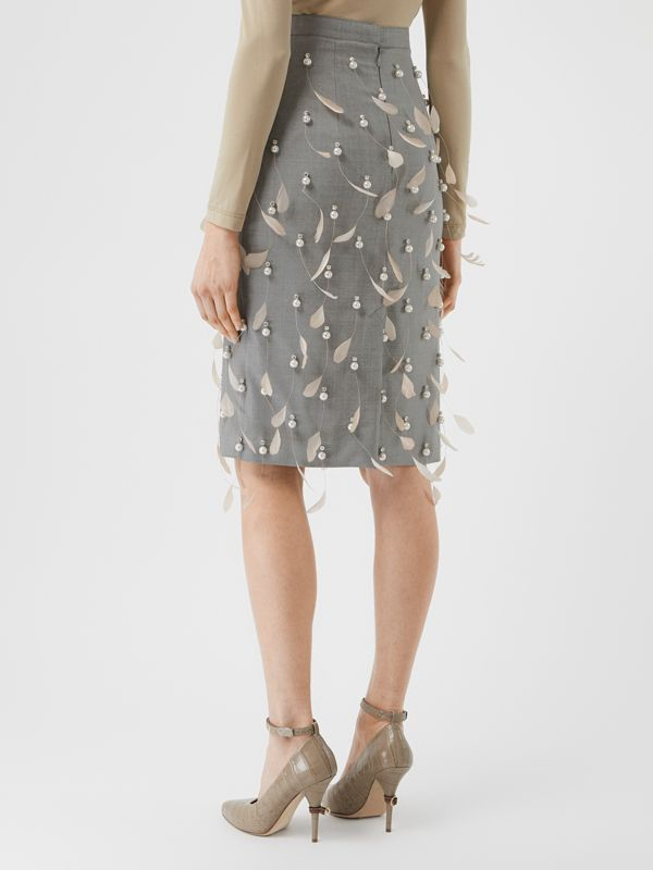 Embellished Wool Pencil Skirt in Flint - Women | Burberry - cell image 2