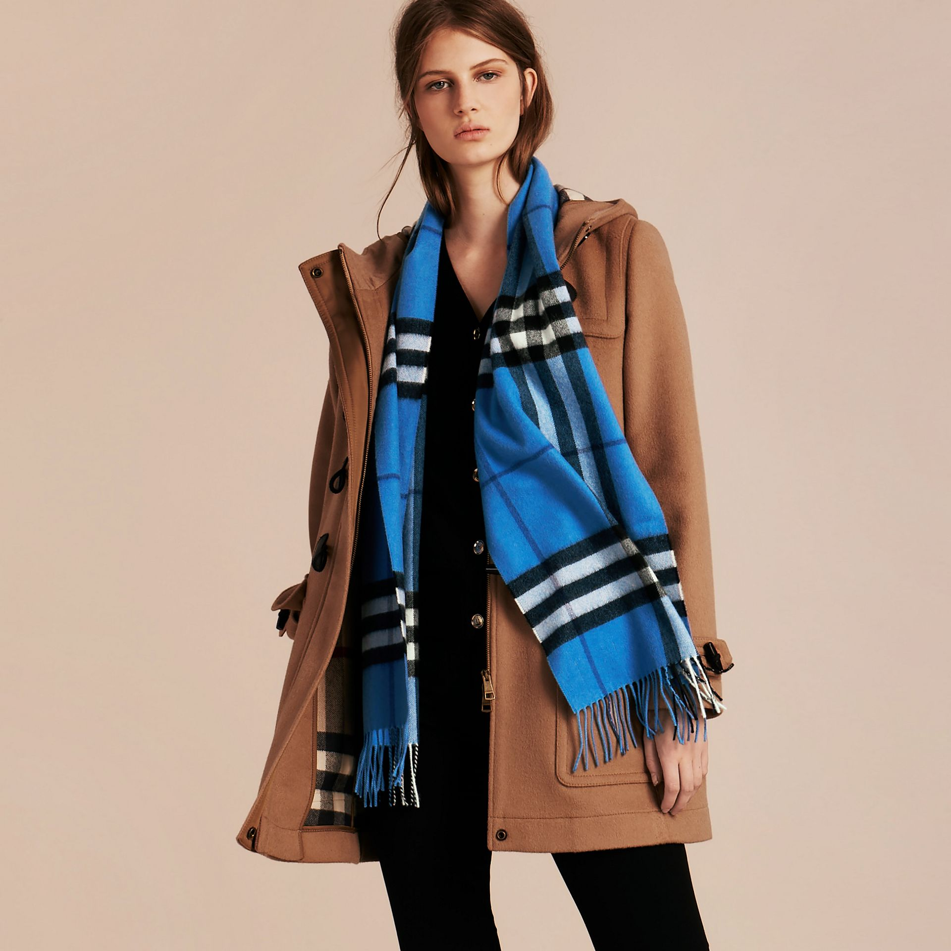 The Classic Cashmere Scarf in Check  Bright Cornflower Blue - gallery image 3