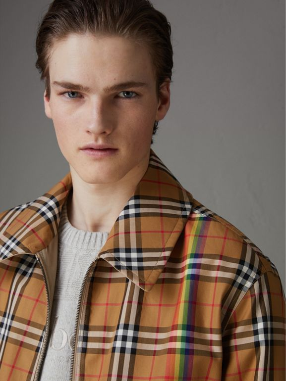 Rainbow Vintage Check Harrington Jacket in Antique Yellow/rainbow - Men | Burberry United Kingdom - cell image 1