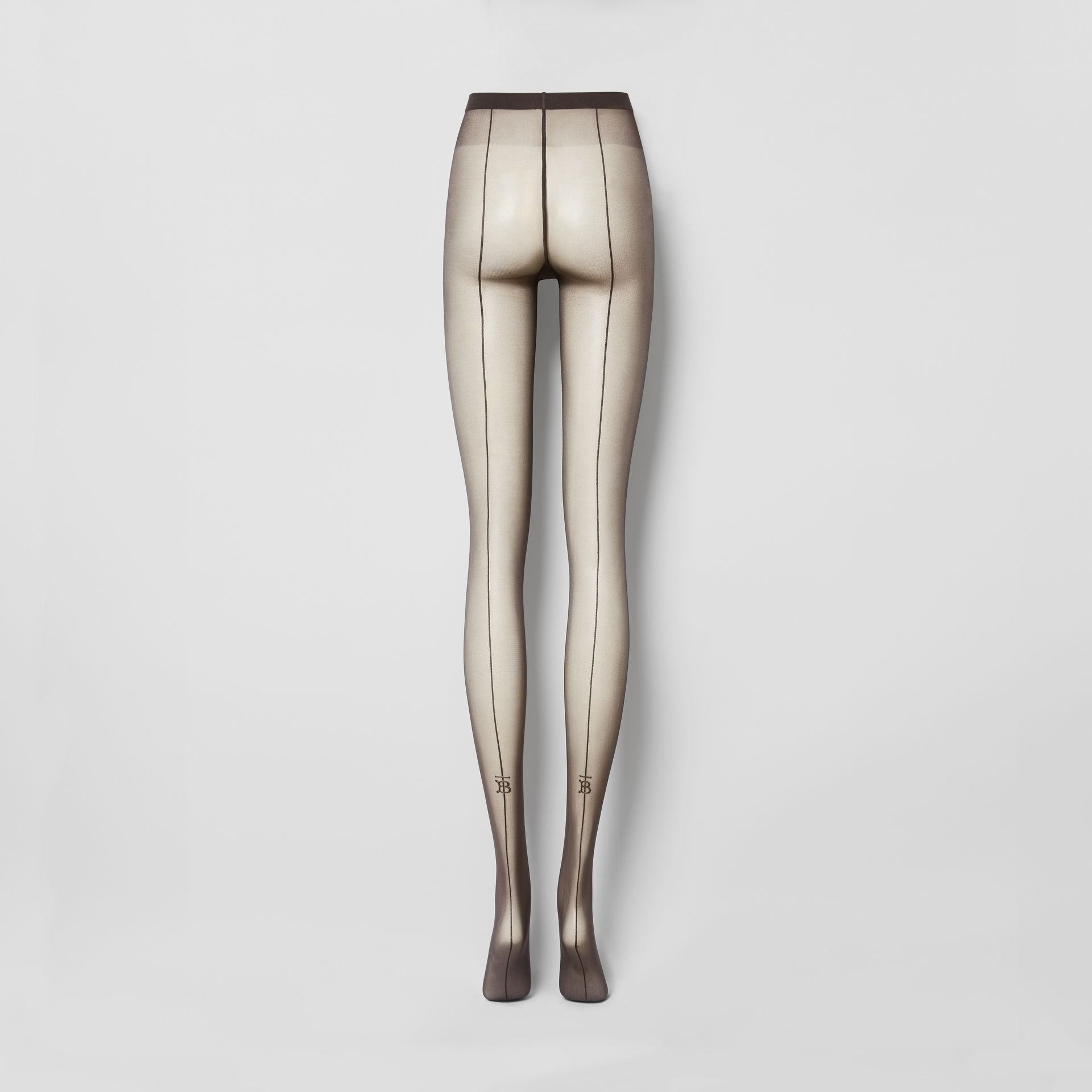 Monogram Motif Seamed Tights in Dark Mocha - Women | Burberry - gallery image 3