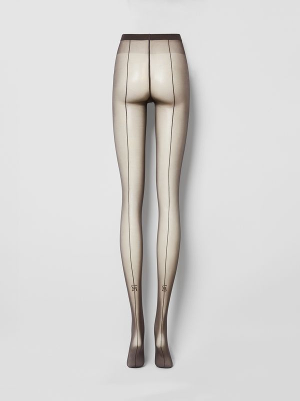 Monogram Motif Seamed Tights in Dark Mocha - Women | Burberry - cell image 3