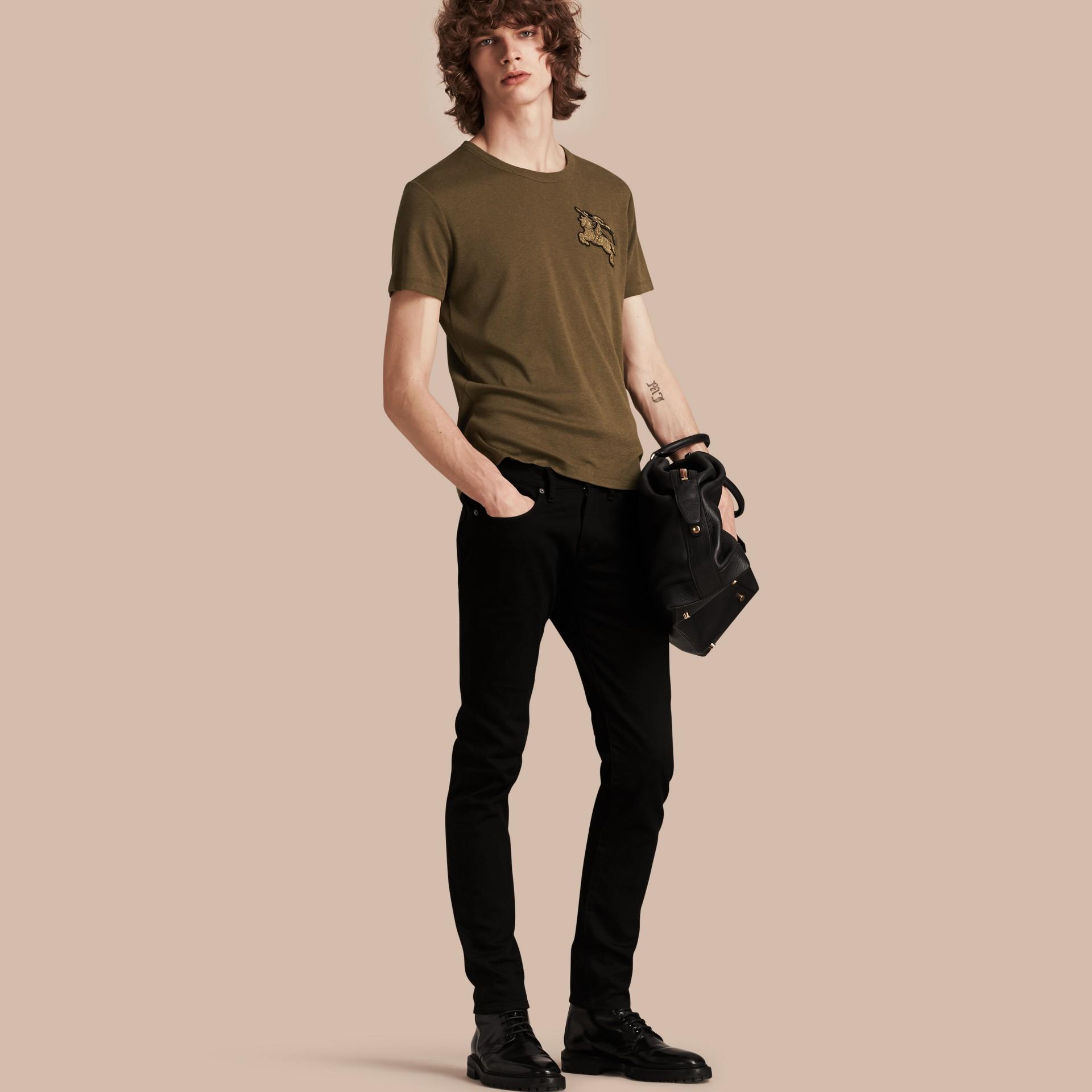 Vert militaire T-shirt en coton et laine mélangés Vert Militaire - photo de la galerie 1