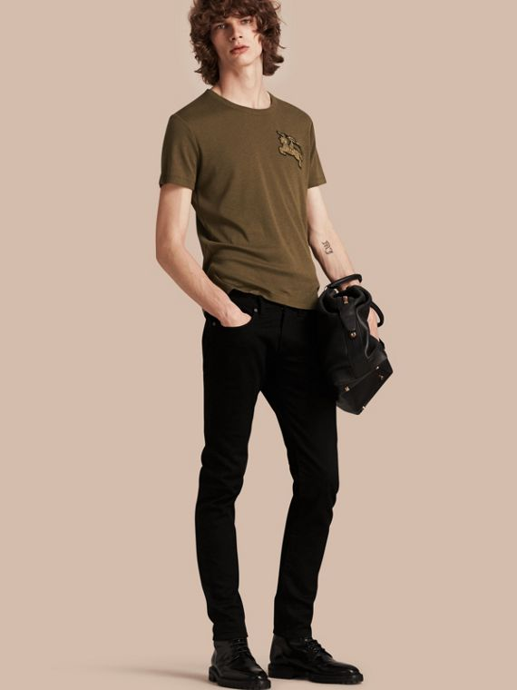 Cotton Wool Blend T-shirt Military Green