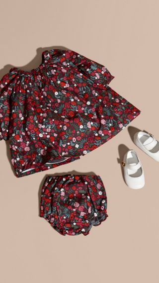 Floral Print Cotton Dress and Bloomers