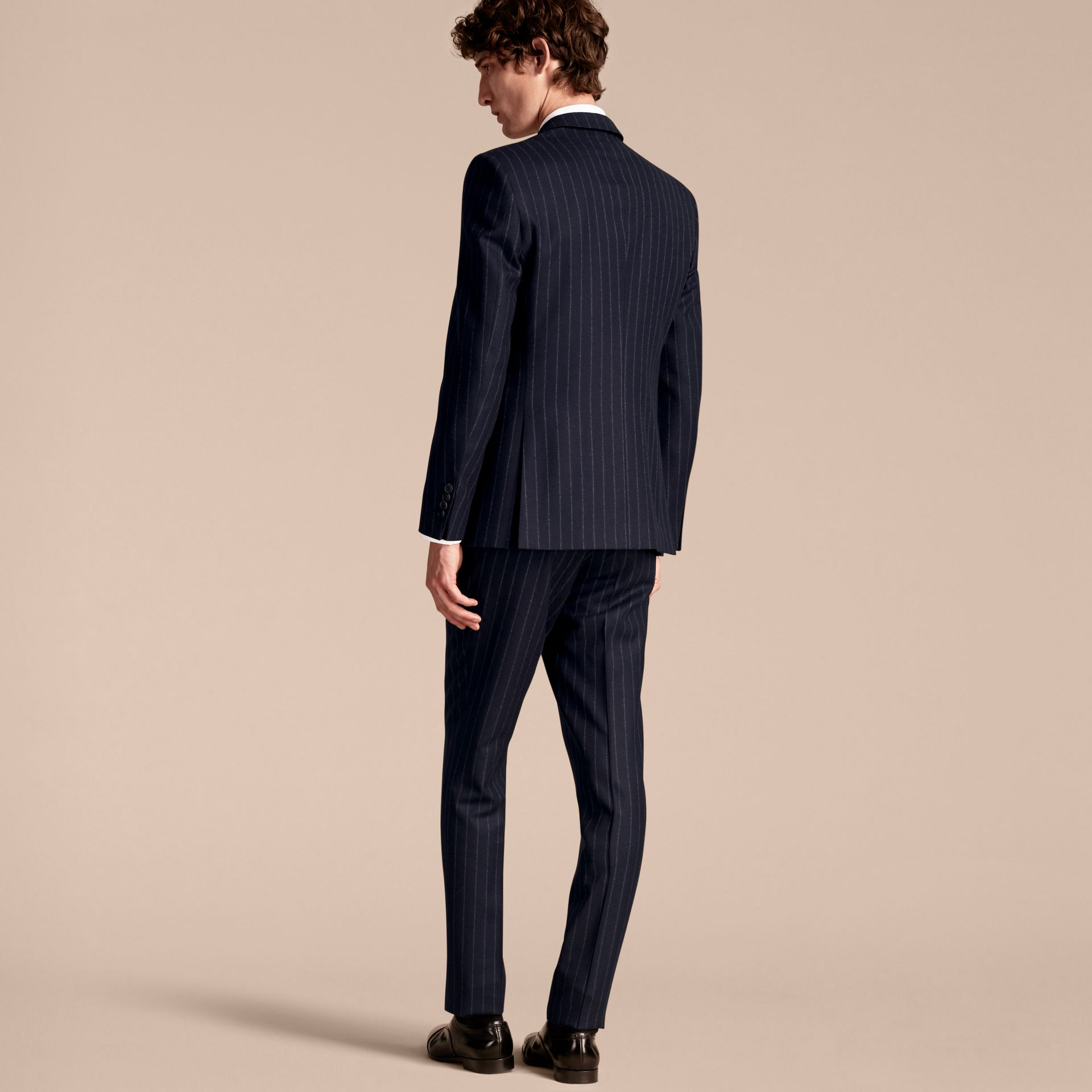 Navy Slim Fit Double-breasted Pinstripe Wool Suit - gallery image 3