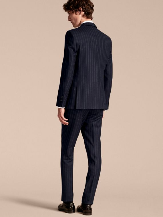 Slim Fit Double-breasted Pinstripe Wool Suit - cell image 2