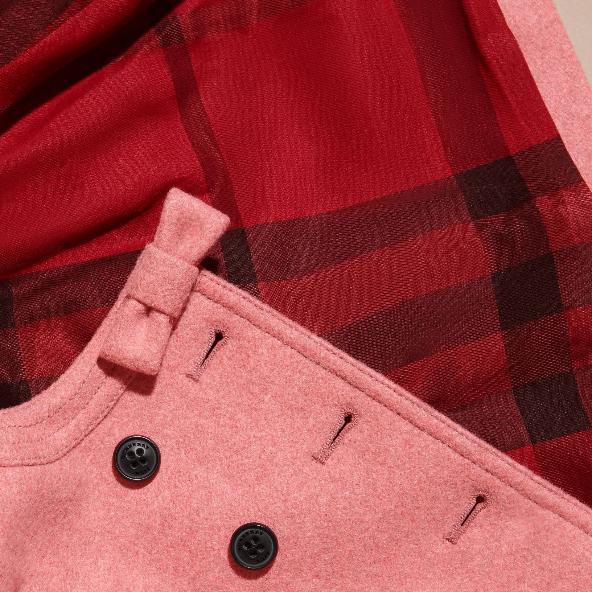 Peony rose melange Bow Detail Wool Cashmere Coat - gallery image 2