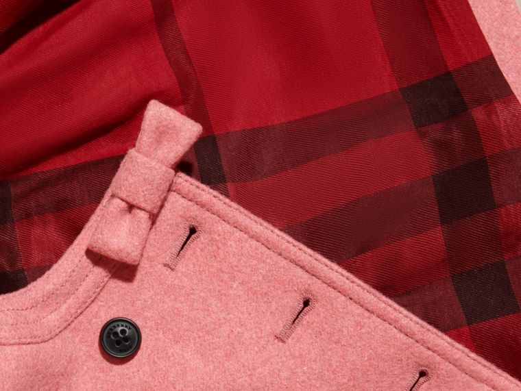 Peony rose melange Bow Detail Wool Cashmere Coat - cell image 1
