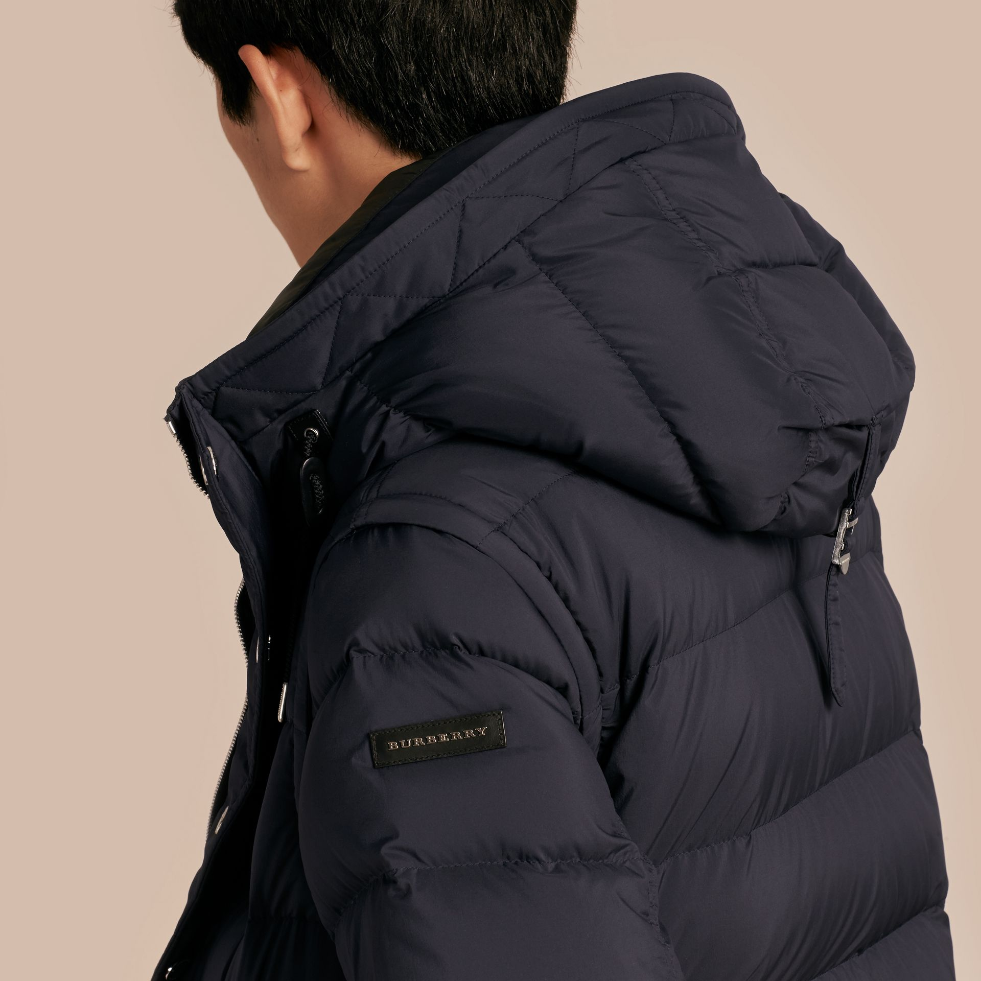 Navy Down-filled Hooded Jacket with Detachable Sleeves Navy - gallery image 5