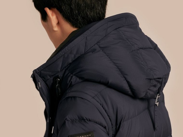 Navy Down-filled Hooded Jacket with Detachable Sleeves Navy - cell image 4