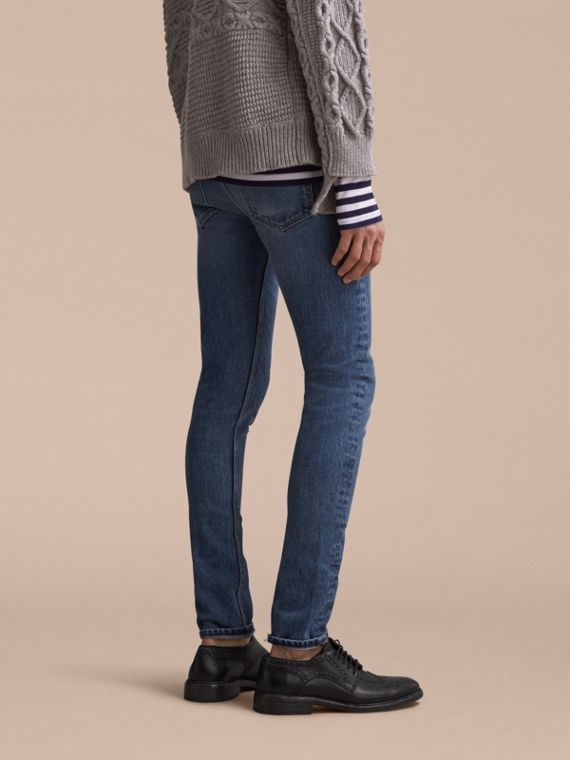 Skinny Fit Stretch-denim Jeans in Mid Indigo - Men | Burberry Canada - cell image 2