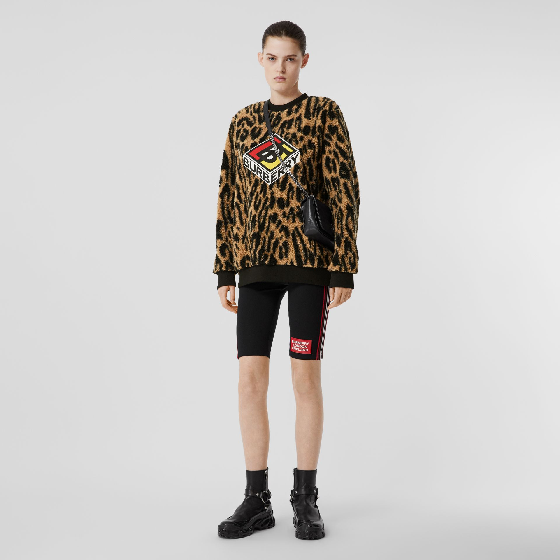 Logo Graphic Leopard Fleece Jacquard Sweatshirt in Dark Mustard - Women | Burberry - gallery image 0