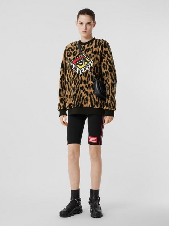 Logo Graphic Leopard Fleece Jacquard Sweatshirt in Dark Mustard