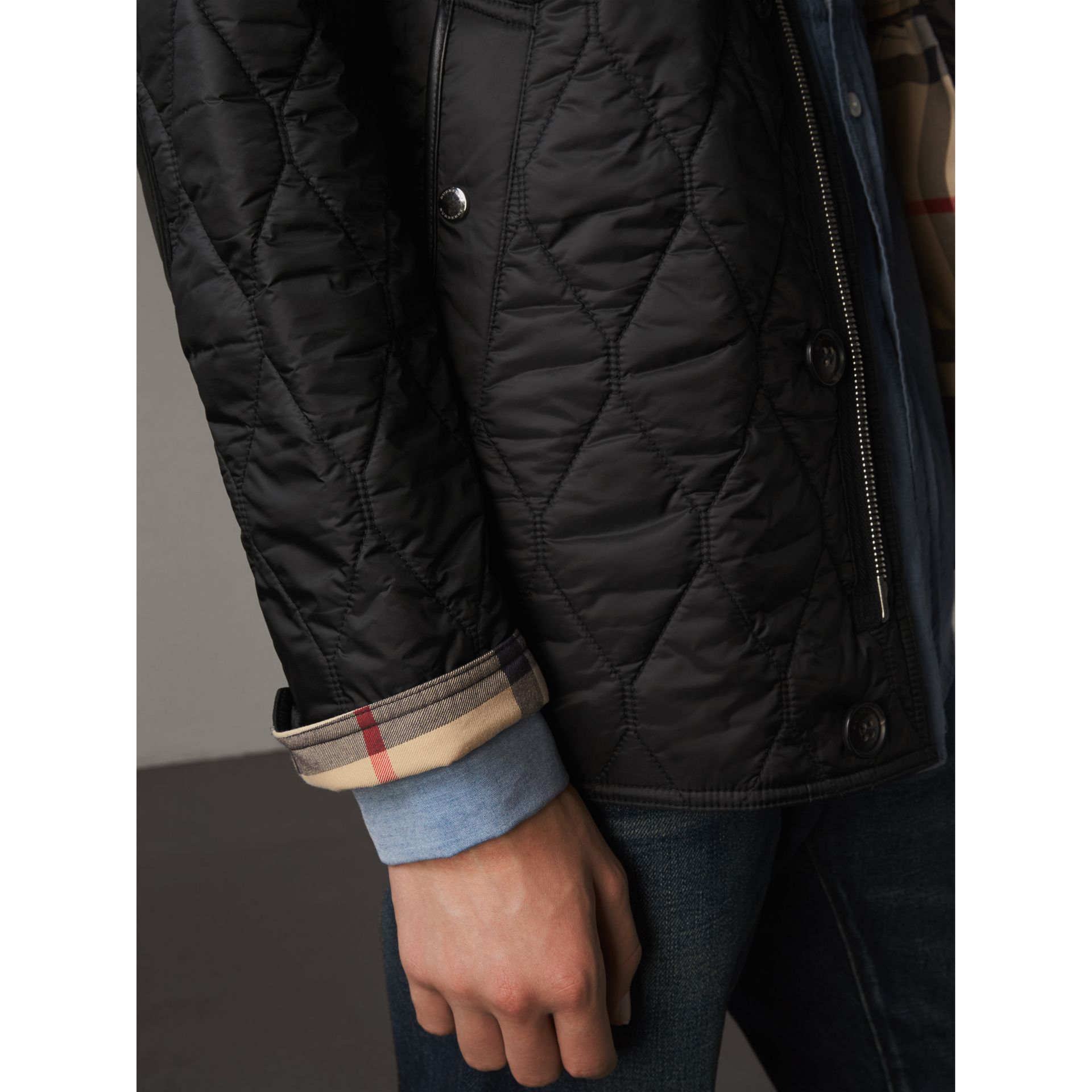 Check Detail Quilted Jacket with Corduroy Collar in Black - Men | Burberry United States - gallery image 1