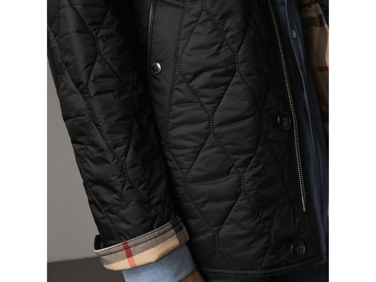 Check Detail Quilted Jacket with Corduroy Collar in Black - Men | Burberry - cell image 1