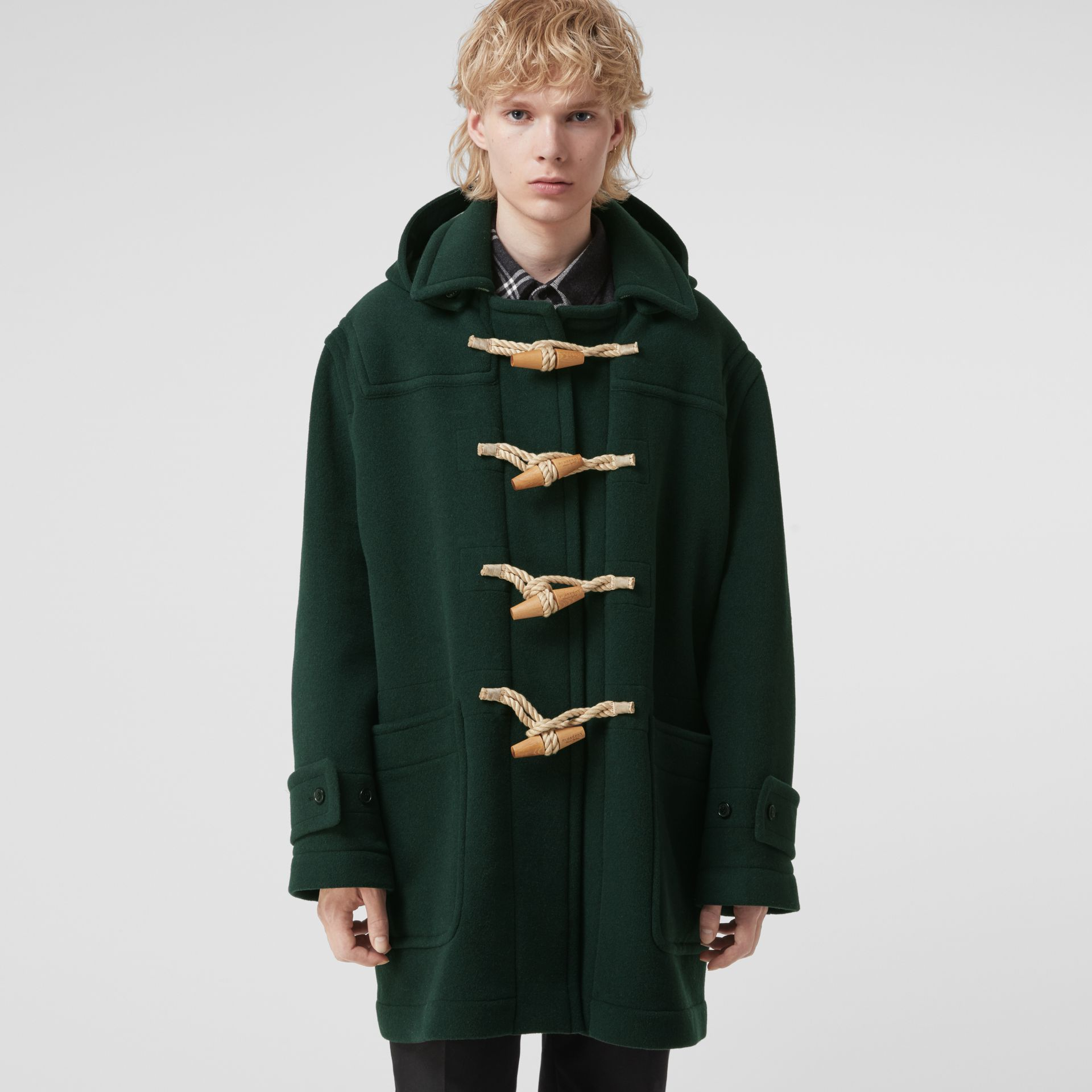 Gosha x Burberry Oversized Duffle Coat in Dark Forest Green | Burberry United Kingdom - gallery image 6