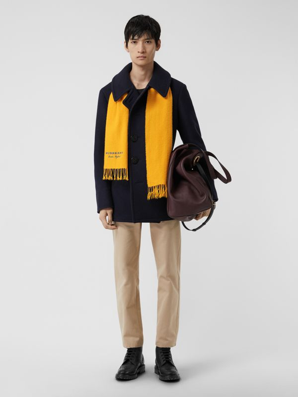 Embroidered Cashmere Fleece Scarf in Saffron Yellow | Burberry Australia - cell image 3