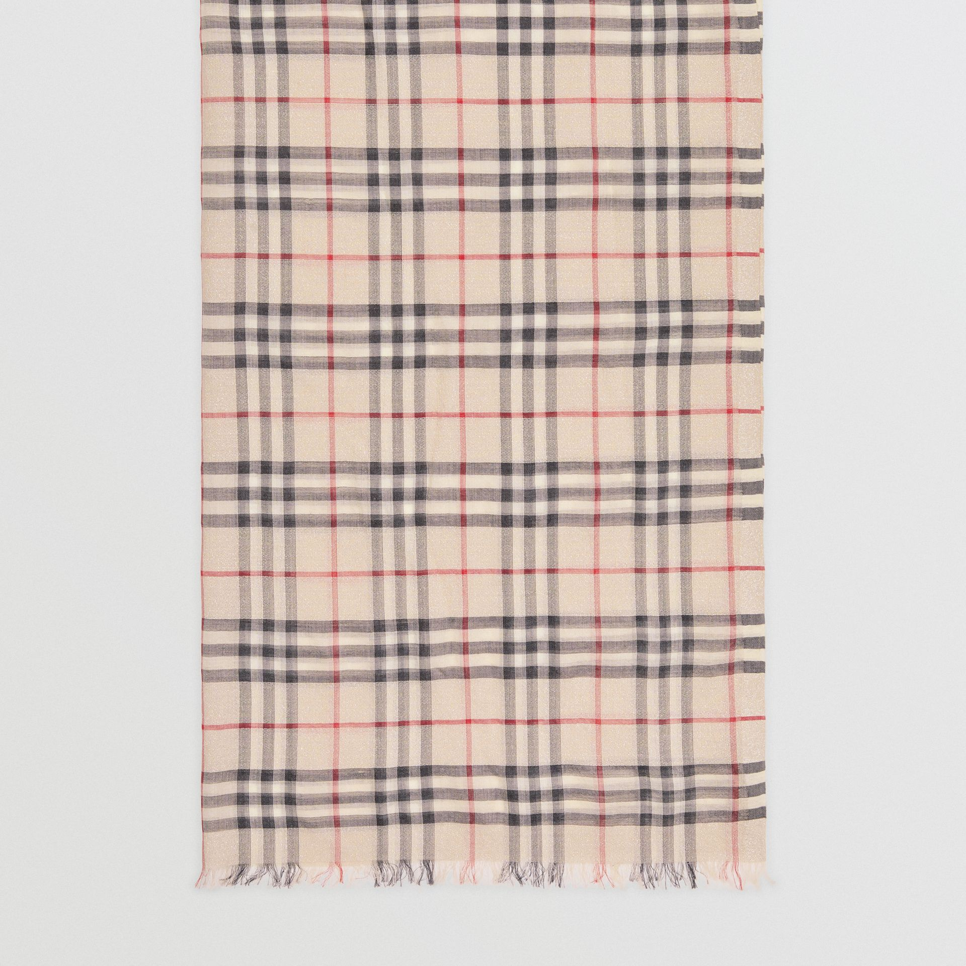 Metallic Vintage Check Wool Silk Blend Scarf in Stone | Burberry Singapore - gallery image 4