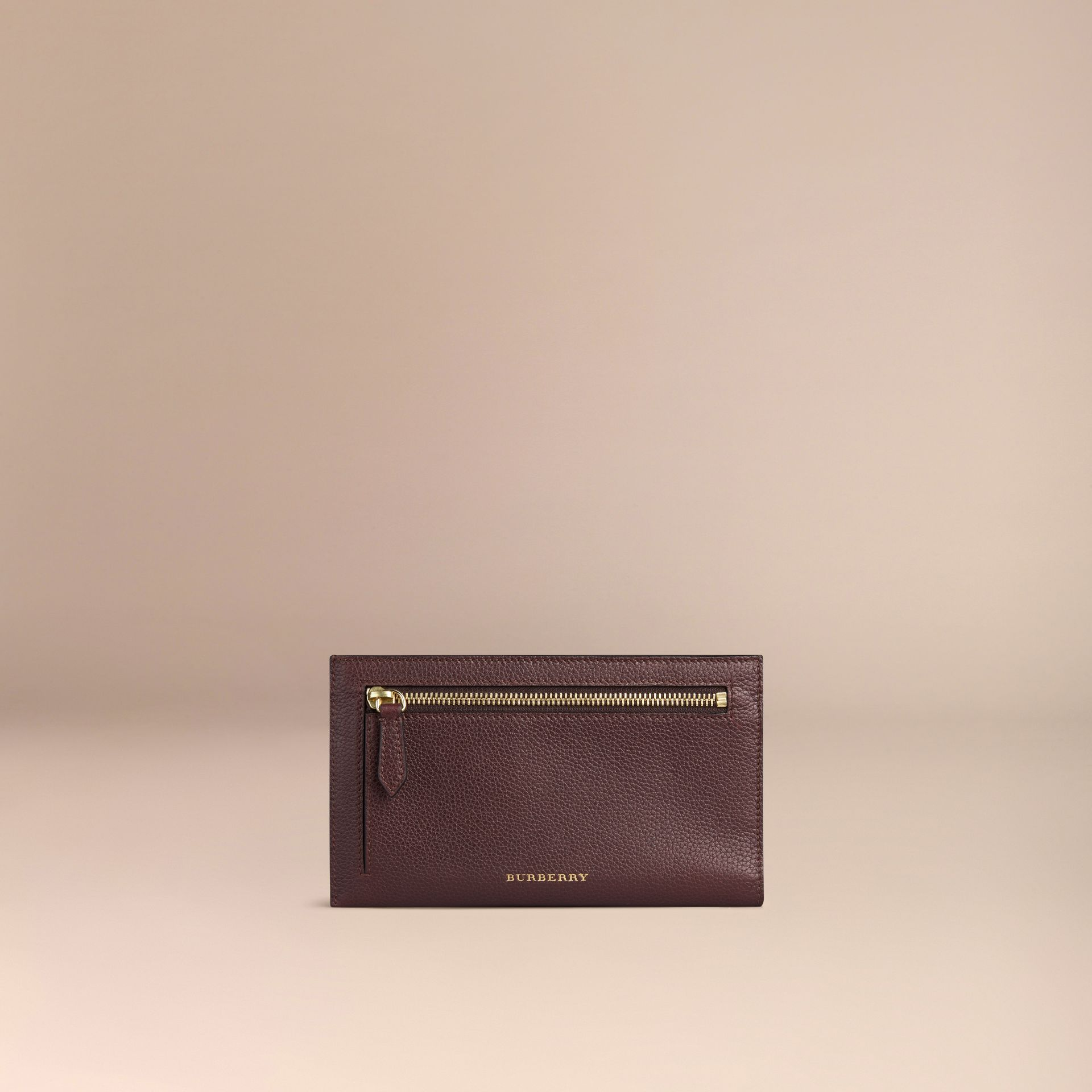 Grainy Leather Travel Case in Ebony Red | Burberry - gallery image 2
