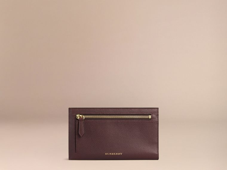 Grainy Leather Travel Case in Ebony Red | Burberry United States - cell image 1