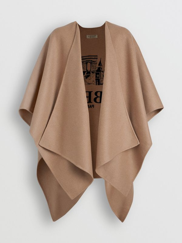 Embroidered Skyline Cashmere Poncho in Camel - Women | Burberry - cell image 3