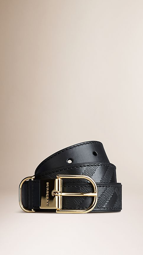 Black Embossed Check London Leather Belt Black - Image 1