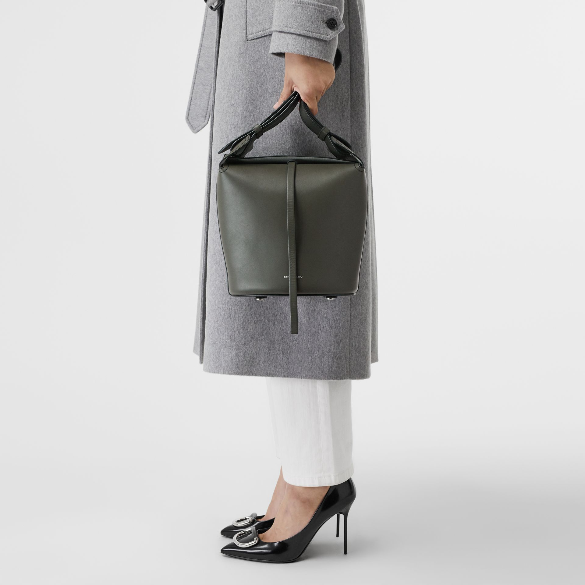 The Small Leather Bucket Bag in Dark Olive - Women | Burberry - gallery image 3