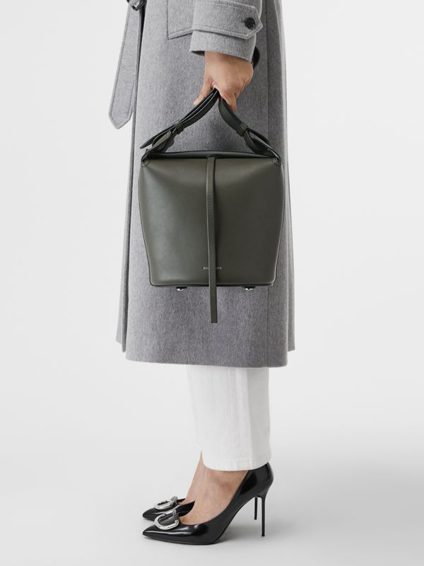 The Small Leather Bucket Bag in Dark Olive - Women | Burberry United States - cell image 3
