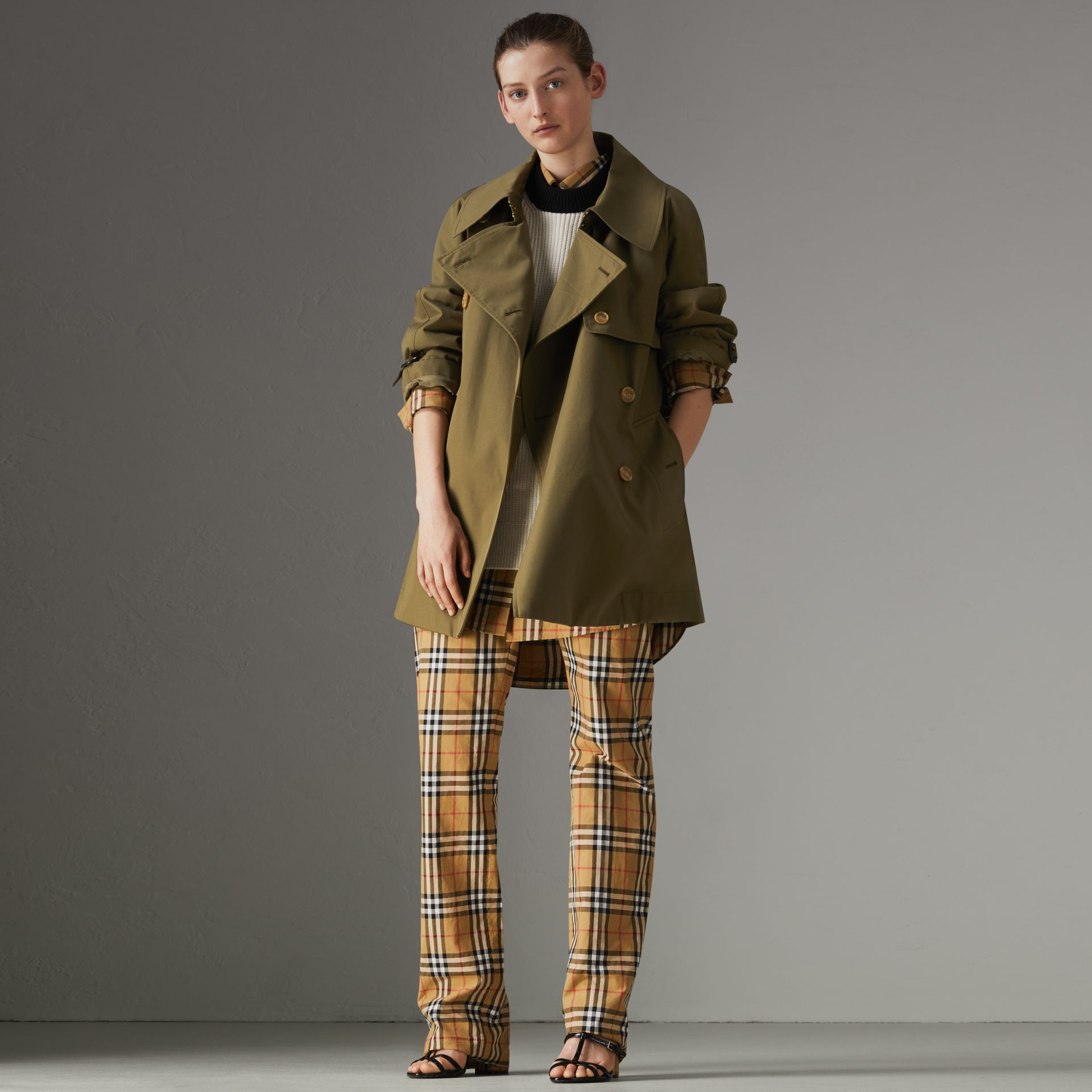 Exaggerated Collar Cotton Gabardine Trench Coat in Military Olive - Women | Burberry - gallery image 0