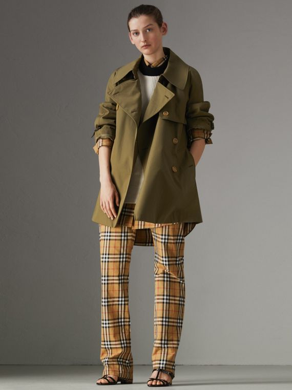Exaggerated Collar Cotton Gabardine Trench Coat in Military Olive