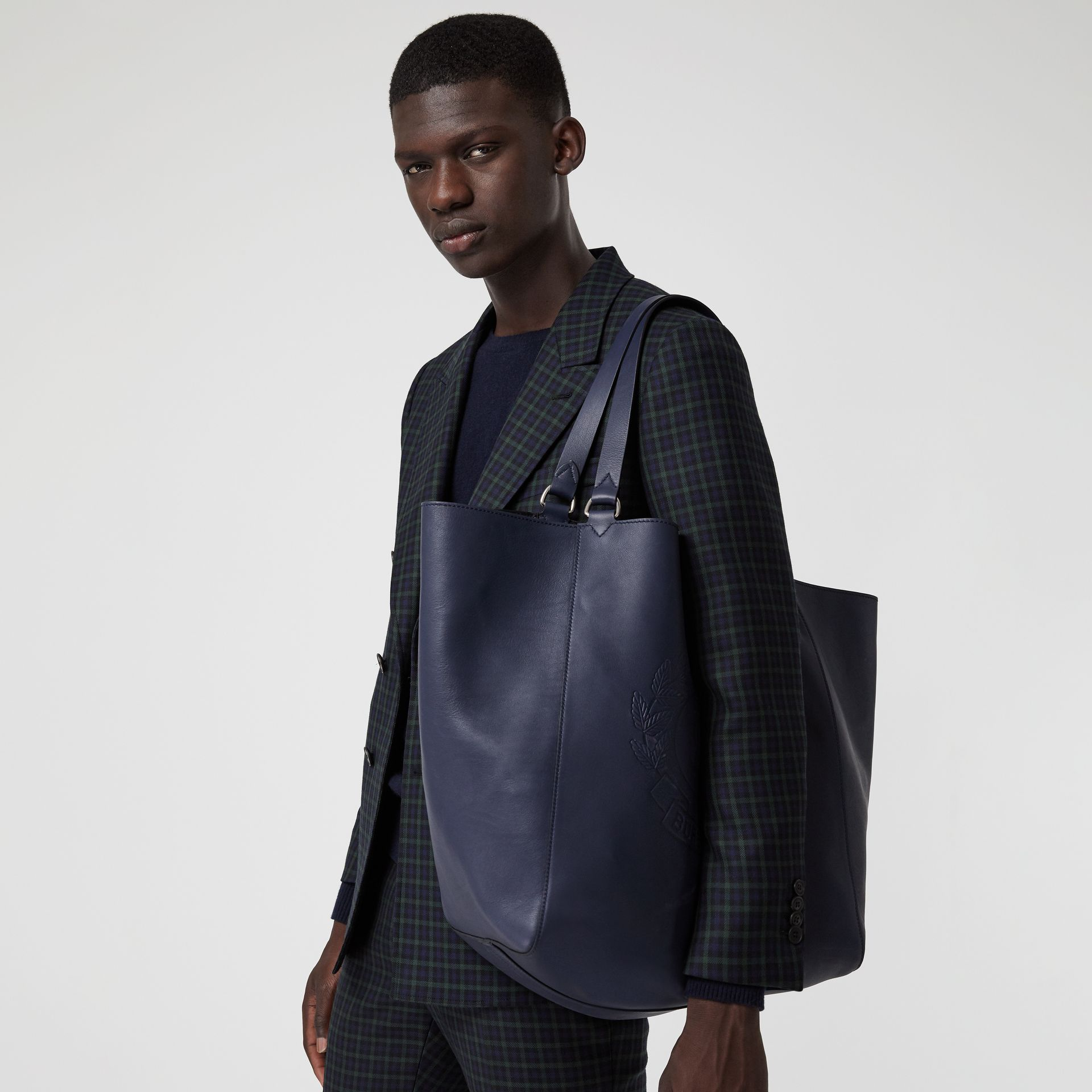 Large Embossed Crest Bonded Leather Tote in Regency Blue - Men | Burberry United States - gallery image 6