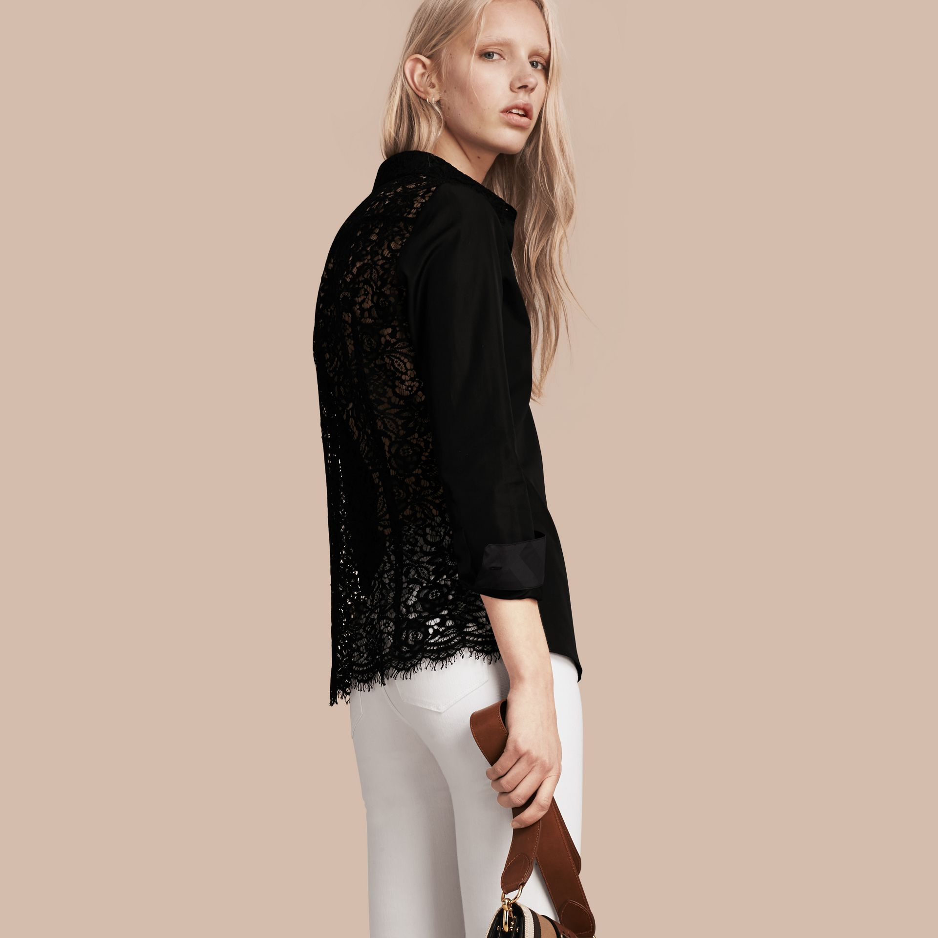 Black Macramé Lace Detail Cotton Shirt - gallery image 1