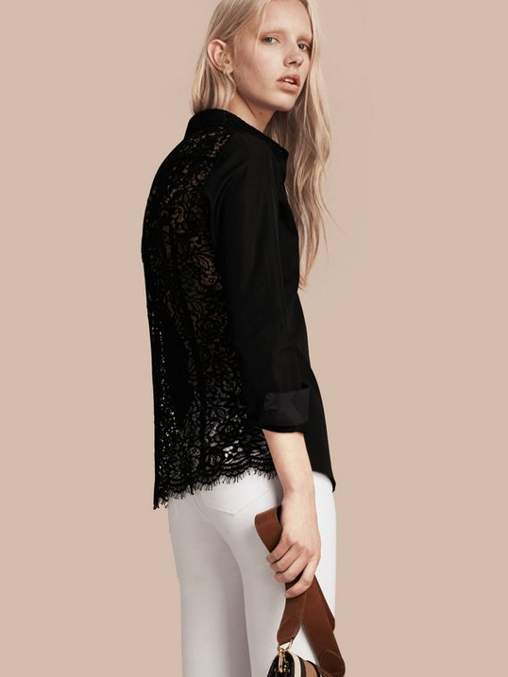 Macramé Lace Detail Cotton Shirt
