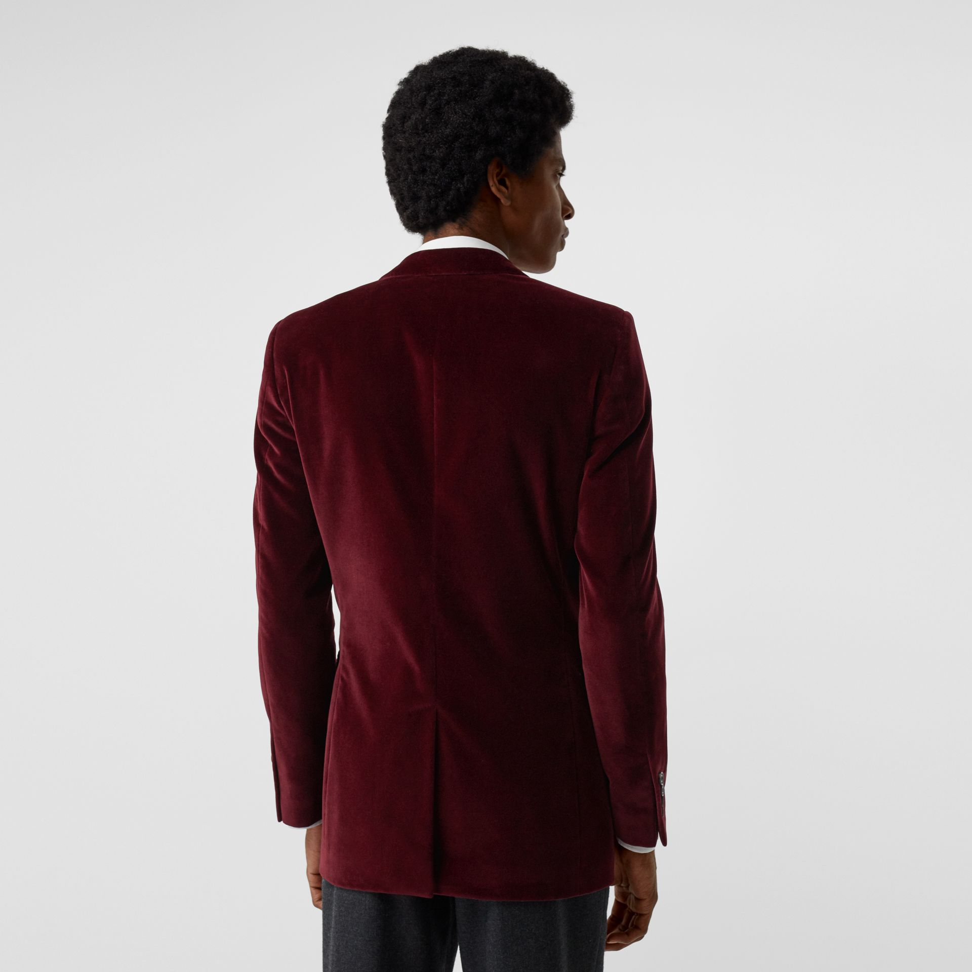 Classic Fit Velvet Tailored Jacket in Burgundy - Men | Burberry - gallery image 2