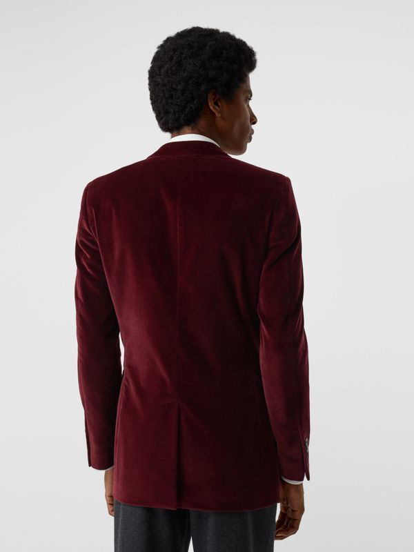 Classic Fit Velvet Tailored Jacket in Burgundy - Men | Burberry - cell image 2