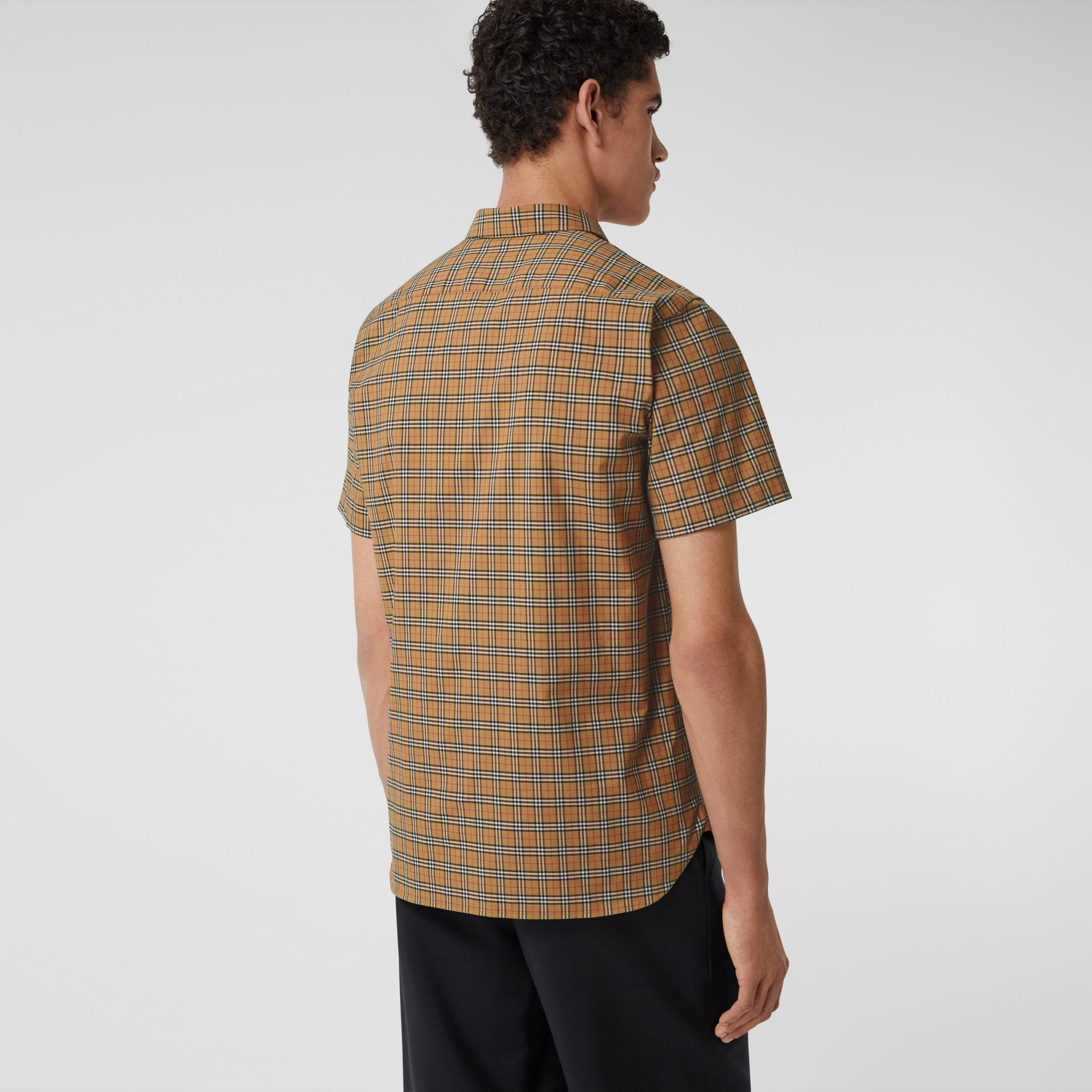 Short-sleeve Check Cotton Shirt in Antique Yellow - Men | Burberry - gallery image 2