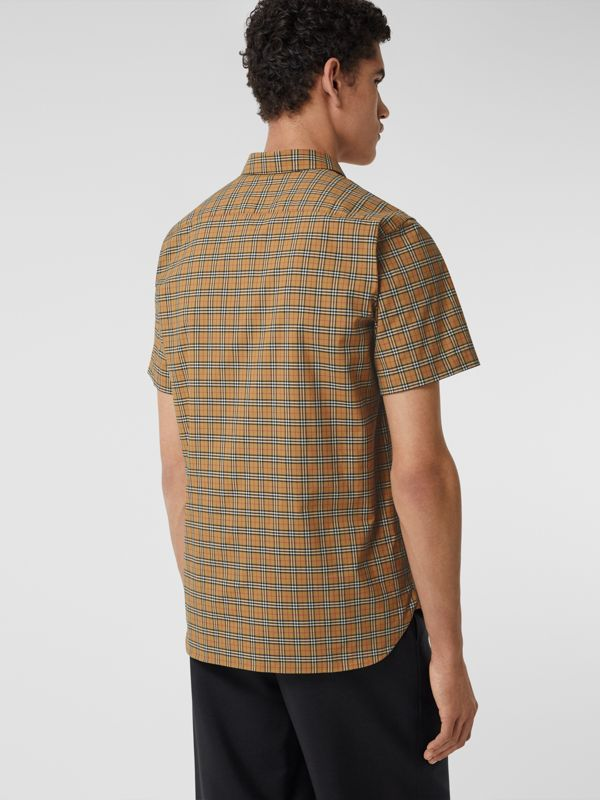 Short-sleeve Check Cotton Shirt in Antique Yellow - Men | Burberry - cell image 2