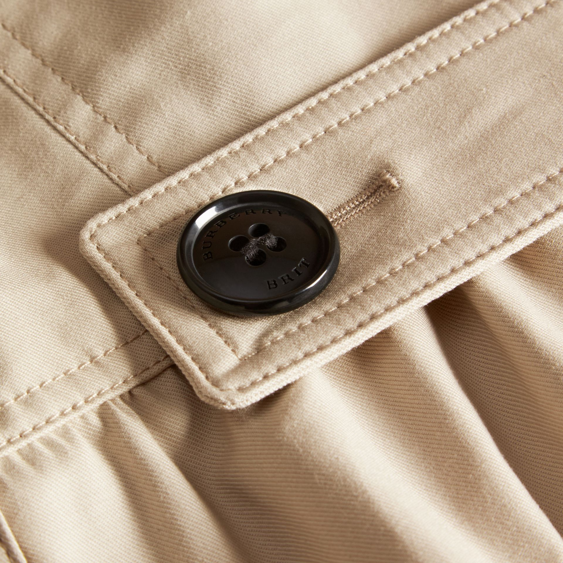 Stone Stretch Cotton Skirted Trench Jacket - gallery image 2