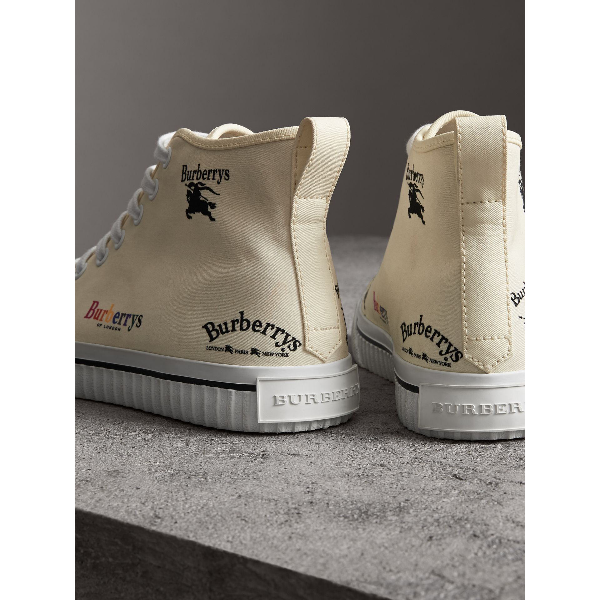 Archive Logo Cotton High-top Sneakers in Off White - Women | Burberry - gallery image 3