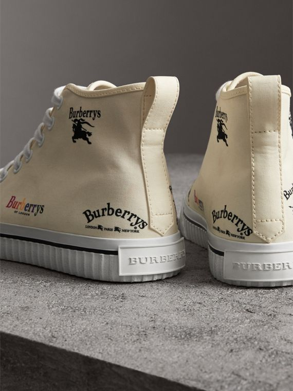 Archive Logo Cotton High-top Sneakers in Off White - Women | Burberry Hong Kong - cell image 3