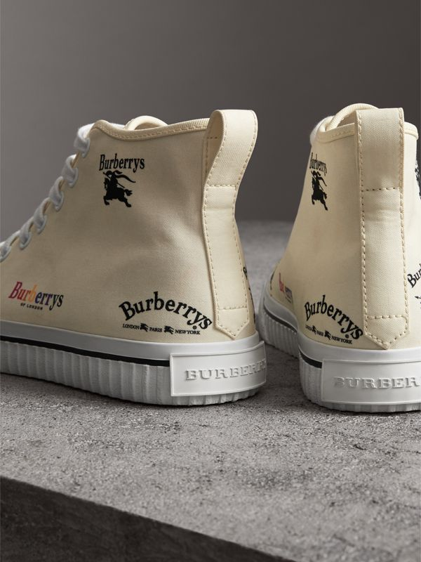Archive Logo Cotton High-top Sneakers in Off White - Women | Burberry United Kingdom - cell image 3