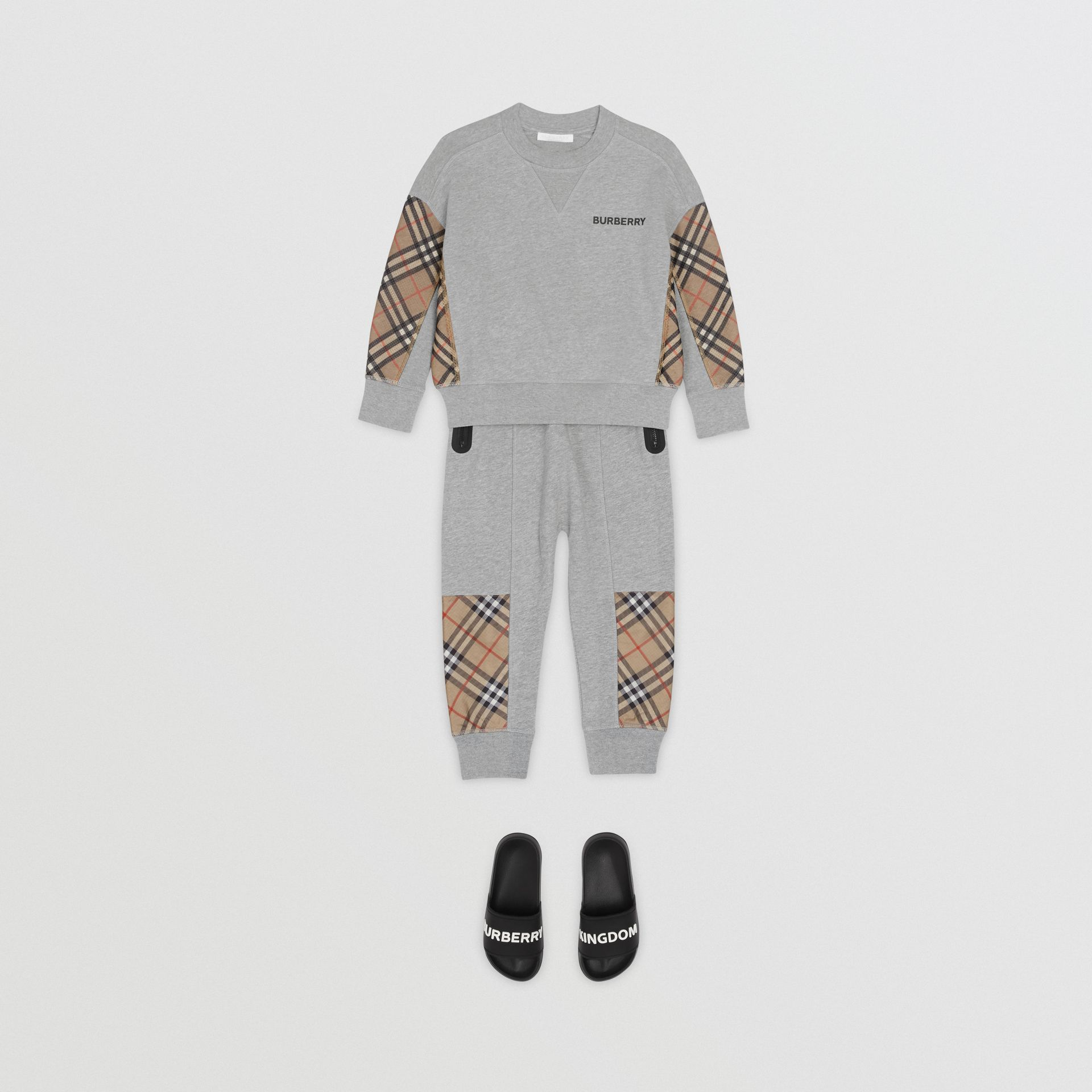 Vintage Check Panel Cotton Trackpants in Grey Melange | Burberry - gallery image 2