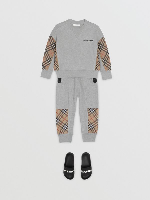 Vintage Check Panel Cotton Trackpants in Grey Melange | Burberry - cell image 2