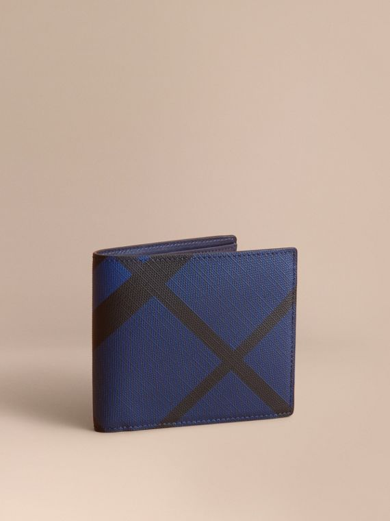 London Check International Bifold Wallet in Bright Lapis - Men | Burberry Canada